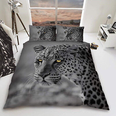 3D Leopard Big Cat Duvet Cover Quilt Cover Bedding Set Single Double King Sizes • 22.30£