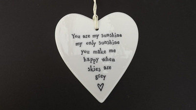 East Of India Porcelain Heart Hanging Sign Plaque My Sunshine Ideal Gift • 6.99£