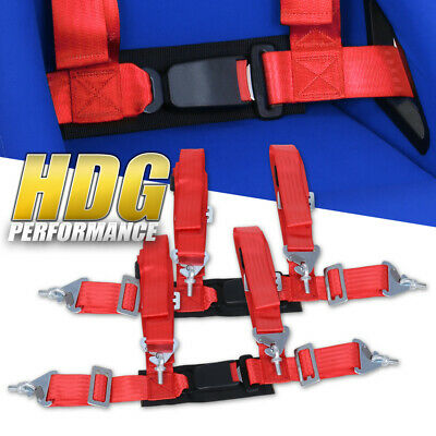 $ CDN57 • Buy 2X Universal 2  Wide Red 4Pt Safety Racing Seatbelt Harness Strap W/ Buckle