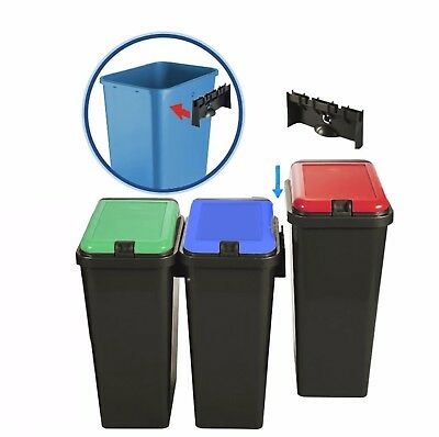 £14.45 • Buy Plastic Kitchen Bins Recycle Waste Dust Touch Top Bin Rectangular 45LCompartment