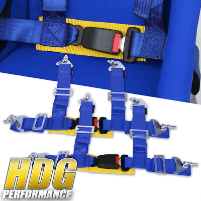 $ CDN46.63 • Buy Pair Of 2  Wide Blue / Gold Seat Belt Harness 4 Point Safety W/ Buckle Latch