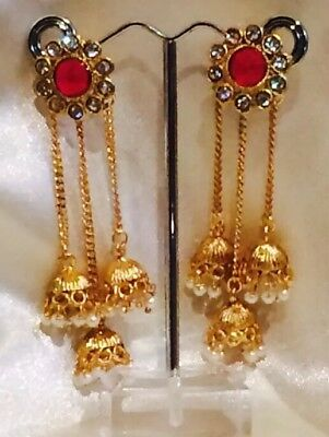 AU19 • Buy Bollywood Gimmiki Indian Designer Earrings Gold Pearls Jhumka Red White F43