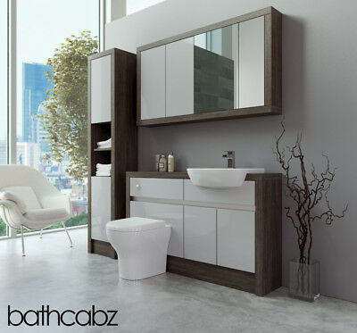 Bathroom Fitted Furniture Light Grey Gloss/mali Wenge 1300mm With Wall & Tall - • 1,535£