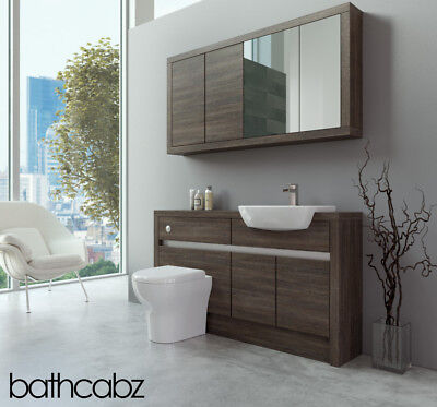Bathroom Fitted Furniture Mali Wenge 1400mm With Wall Unit - Bathcabz • 1,075£