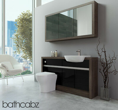 Bathroom Fitted Furniture Black Gloss/mali Wenge 1400mm H1 With Wall Unit - Bath • 1,195£