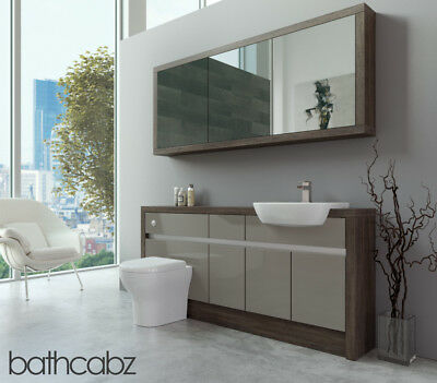 Bathroom Fitted Furniture Latte Gloss/mali Wenge 1700mm H1 With Wall Unit - Bath • 1,570£
