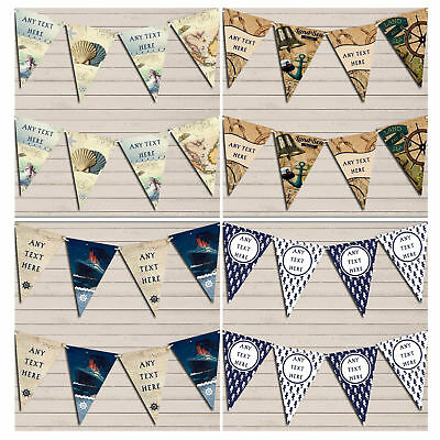 Personalised Nautical Bunting Party Banner Birthday Baby Shower Wedding Garland • 5.99£