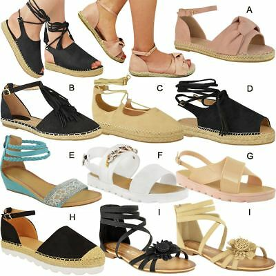£12.99 • Buy Womens Ladies Kids Flat Sandals Casual Summer Espadrille Summer Strap Shoes Size