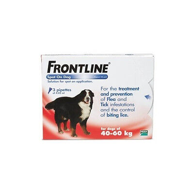 £21.99 • Buy Frontline Spot-On Flea & Tick Treatment Extra Large Dog 40-60kg - 3 Pipettes