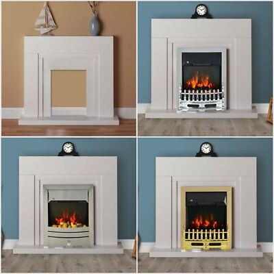 £144.99 • Buy Modern White Flat Wall 2KW Electric Fire Surround Set Complete Fireplace