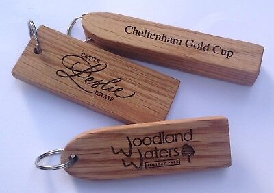 Solid Engraved Oak Wooden Personalised Hotel Key Fobs Tags • 6.60£