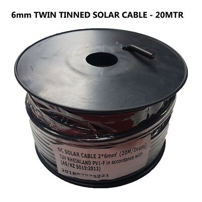 AU89 • Buy 6mm² Twin Core Solar Power Cable PV Photovoltaic Twin Sheath 20Mtr
