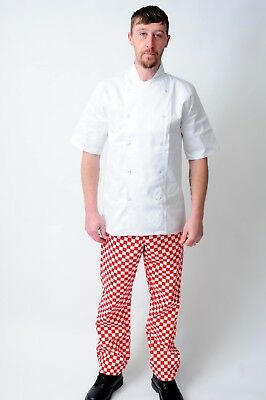 New Chef Elasticated Trousers In Black,Royal,Green And Red Check Colours • 8.99£
