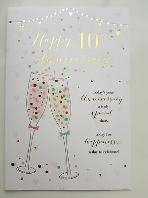 Happy 10th Wedding Anniversary Greetings Card • 3.19£
