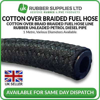 Cotton Over Braided Rubber Petrol Fuel Line Diesel Oil Tubing Hose Pipe Tube 1M • 2.97£
