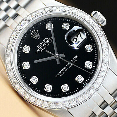 $ CDN6891.35 • Buy Mens Rolex Datejust 18k White Gold Diamond & Stainless Steel Watch - Black Dial