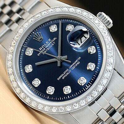 $ CDN7069.30 • Buy Mens Rolex Blue Diamond Dial Datejust 18k White Gold & Steel Watch