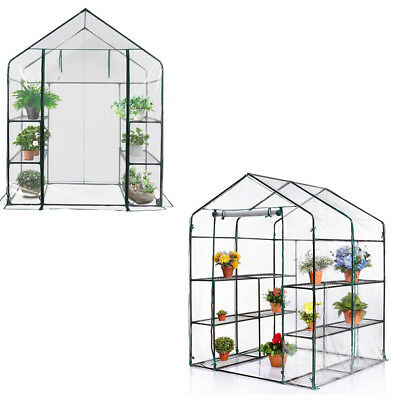 New Walk In Greenhouse PVC Plastic Garden Grow Green House With 6 Or 8 Shelves • 48.99£