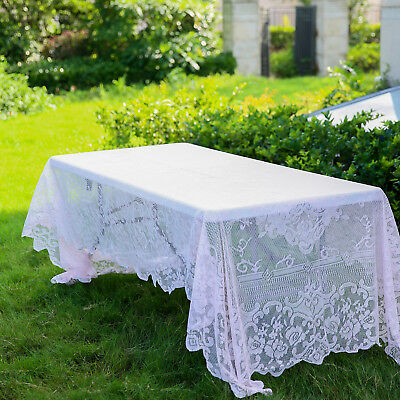 $12.86 • Buy BLUSH 60x126 RECTANGLE Floral LACE TABLECLOTH Wedding Party Catering Kitchen
