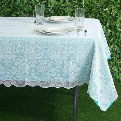 $8.33 • Buy WHITE 60x90 RECTANGLE Floral LACE TABLECLOTH Wedding Party Catering Kitchen SALE