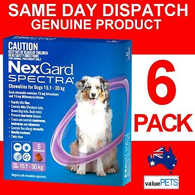 AU99.99 • Buy NexGard Spectra Purple 6 Pack For Large Dogs 15.1-30kg