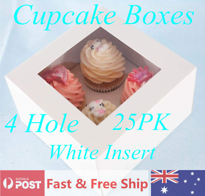 AU20.99 • Buy Cupcake Boxes 4 Hole 25PCS Window Display Cake Boxes Muffin Cases Patty Pans AU