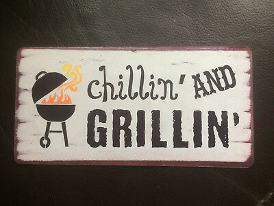£5.69 • Buy BBQ Chillin & Grillin Sign Shabby Chic Style Plaque Indoor Or Outdoor