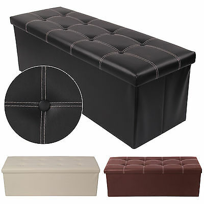 38X38X110cm OTTOMAN FAUX LEATHER STOOL FOLDING SEAT CHEST FOLDABLE STORAGE BOX • 29.99£