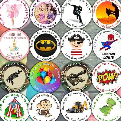 Sheet Of Personalised Birthday Party Stickers For Party Bags Sweet Cones • 2.39£