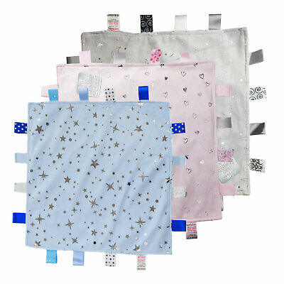 Soft Tag Satin UK Baby Boys Girls Soft Touch Pink White Blue Comforter Blanket