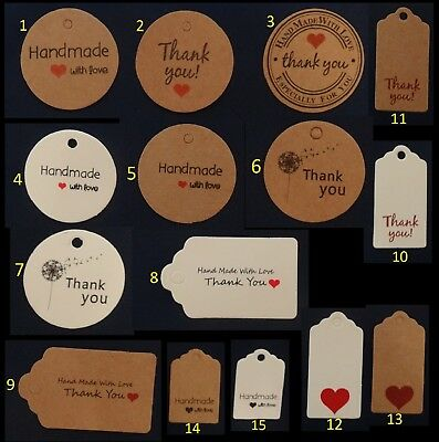 Kraft Paper Gift Tags Label Thank You With Love Christmas Wedding Birthday • 1.99£