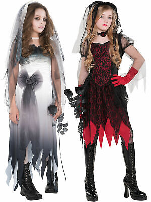 Girls Zombie Corpse Bride Costume Child Teen Halloween Wedding Fancy Dress Kids • 10.36£