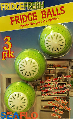 3 X FRESH FRIDGE BALLS FRESHENER ELIMINATES ODOUR REMOVES SMELLS • 6.99£