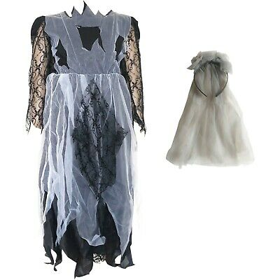 Childrens Kids Girls Zombie Corpse Bride Halloween Fancy Dress Costume Outfit • 7.95£