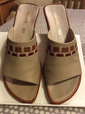 £9.95 • Buy Rohde Womens Beige Tan Red Leather Mules Sandals Uk Size 7 Excellent Condition