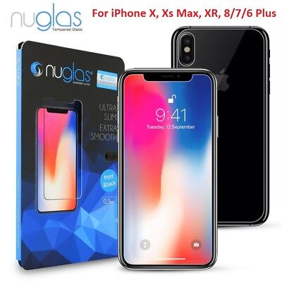 AU8.75 • Buy NUGLAS FRONT AND BACK Tempered Glass Screen Protector IPhone Xs Max XR 8 7 6Plus