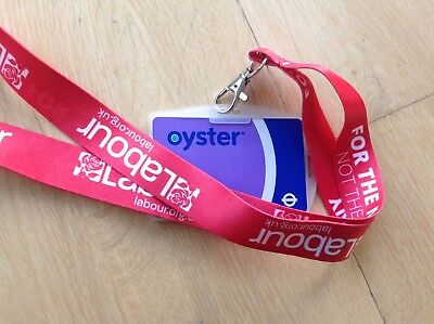 Labour Party Lanyard Red Rose ID Holder Jeremy Corbyn Supporter Socialistbadge • 7£