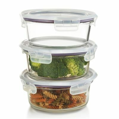 £12.10 • Buy SET OF 3, Round Glass Food Storage Containers POT–Microwave&Freezer Safe, 420 ML