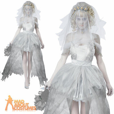Ghostly Corpse Bride Costume Ladies Sexy Zombie Halloween Fancy Dress Outfit • 31.99£