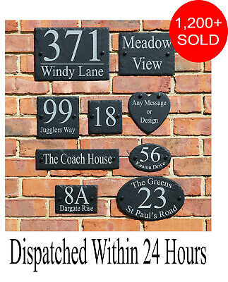 Rustic Slate House Gate Sign Plaque Door Number Personalised Name Plate Engraved • 7.99£