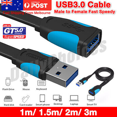 AU7.85 • Buy Fast Speedy Vention USB 3.0 Data Extension Male To Female Cable 1m 1.5m 2m 3m