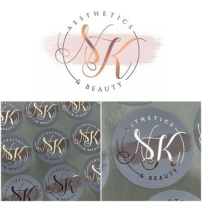 BUSINESS NAME Custom Circle Shaped Foil Logo Stickers Marble Copper ROSE GOLD • 5.95£