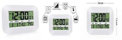 HeQiao Silent Desk Clocks 12 Inch Digital Wall Clock Simple Large Ivory White  • 18.06£