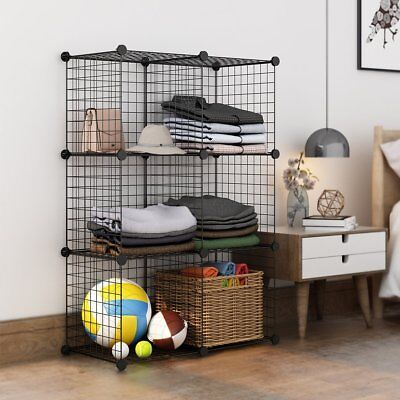 AU38.99 • Buy 4 To 8 Cube Black DIY Wire Storage Shelves Cabinet Metal Display Shelf Toy Book