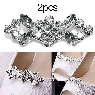 Pair Bridal Party Jewelry Shoe Clips Buckle Tone Buckle Rhinestone Crystal Decor • 3.69£