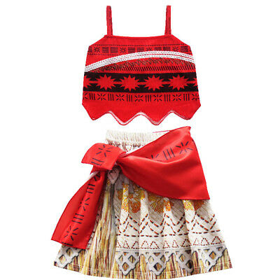 New Kids Costume Moana Princess Girl Cosplay Fancy Dress Deluxe Dress Xmas 3-10Y • 11.99£