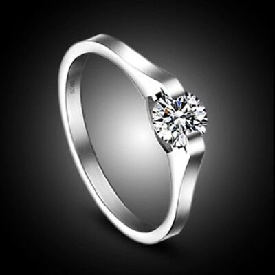 925 Silver Plated 5mm Brilliant Swiss Cut Cubic Zirconia Classic Engagement Ring • 4.99£