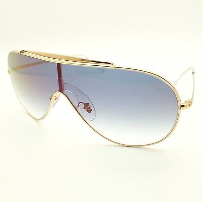 c2aec6a0e33 Ray Ban 3597 001 X0 Gold Blue Fade Red Mirror Wings Shield Sunglasses  Authentic •