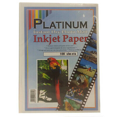 £9.67 • Buy Platinum A4 Instant Dry Photo Double Sided Matte Inkjet Paper 160gsm - 100 Sheet