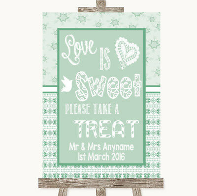 Wedding Sign Poster Print Winter Green Love Is Sweet Take A Treat Candy Buffet • 8.29$
